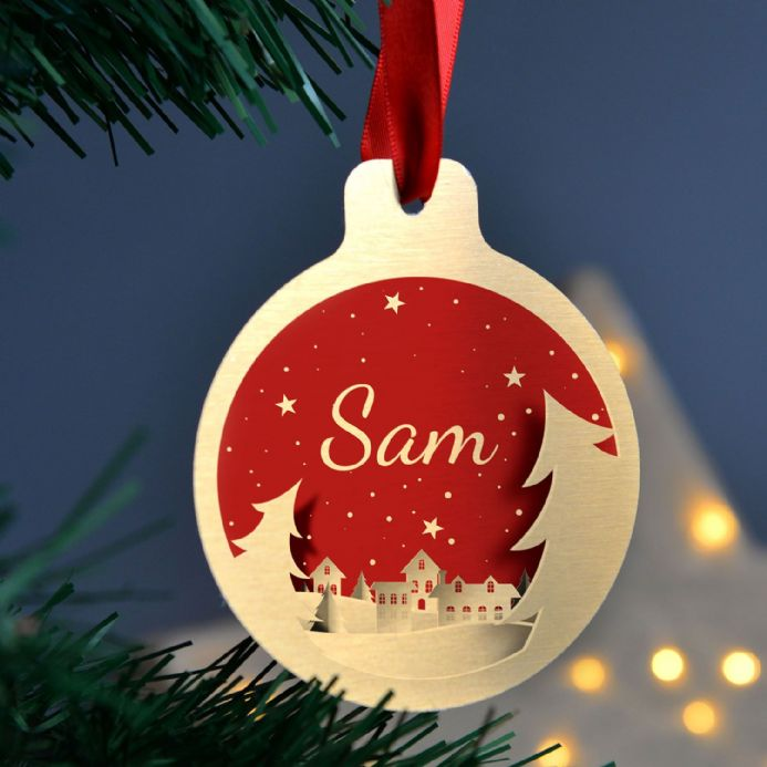 Personalised Silver Or Gold Christmas Tree Bauble Set